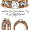 18k Two Tone Gold Intricated Ring with Gia Certified Diamond