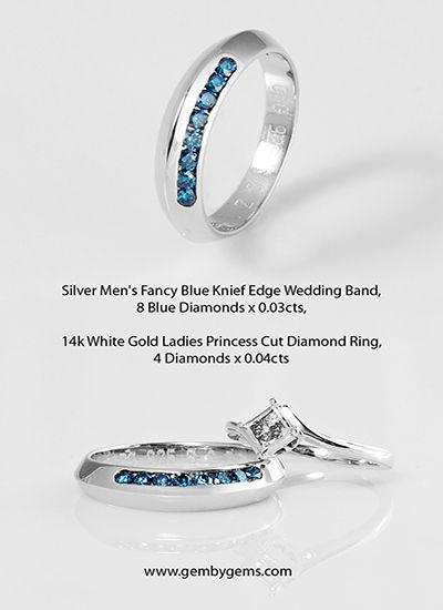 925 silver mens knife edge setting wedding band with fancy blue