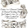 Custom 2 in 1 Solitaire & Diamond Wedding Band