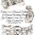 Custom 2 in 1 Solitaire & Diamond Wedding Band
