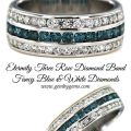 Etermity Three Row Diamond Band Fancy Blue & White Diamonds