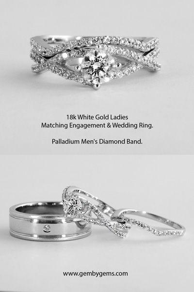 Ladies Diamond Wedding Ring Enhancer And Palladium Mens Diamond Band