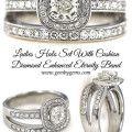 Ladies Halo Set With Cushion  Diamond Enhanced Eternity Band