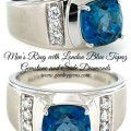 Mens Ring with London Blue Topaz and Side Diamonds