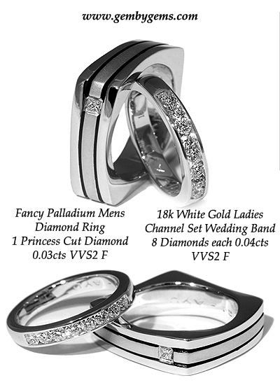 Palladium Mens Diamond Square Wedding Band And 18K White Gold Ladies Eternity Channel Set