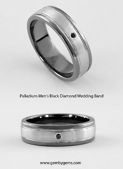 Palladium Mens Wedding Band with Black Diamond – Gem By Gems