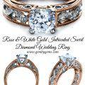 Rose & White Gold Intricated Swirl Diamond Wedding Ring