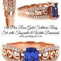 Tanzanite & Diamond Solitaire Wedding Ring Set In Pure Rose Gold