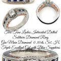 Two Tone Ladies Intricated Dotted Solitaire Diamond Ring  Gia Main Diamond  0.30cts, Si1, H, Triple Excellent Cut with Blue Sapphires