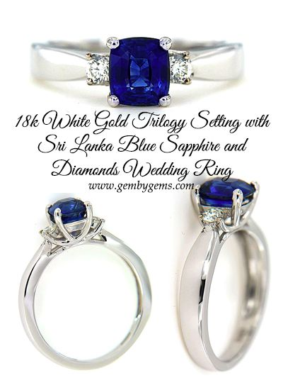 18k White Gold Trilogy Setting With Sri Lanka Blue Sapphire And Diamonds Wedding Ring Gem By Gems