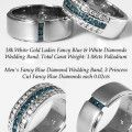 Couple Matching Band with White and Fancy Blue Diamonds