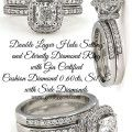 Double Layer Halo Ring with Cushion Diamond Ring