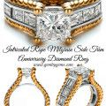 Intricated Rope Milgrain Side Trim Anniversary Diamond Ring