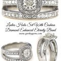 Ladies Halo Set With Cushion  Diamond Enhanced Eternity Band