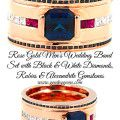 Rose Gold Mens Wedding Band Alexandrite Rubies Black White diamonds