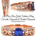 Tanzanite & Diamond Solitaire Wedding Ring Set In Pure Rose Gold