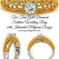 Two Tone Gold Diamond  Solitaire Wedding Ring with Intricated Milgrain Design